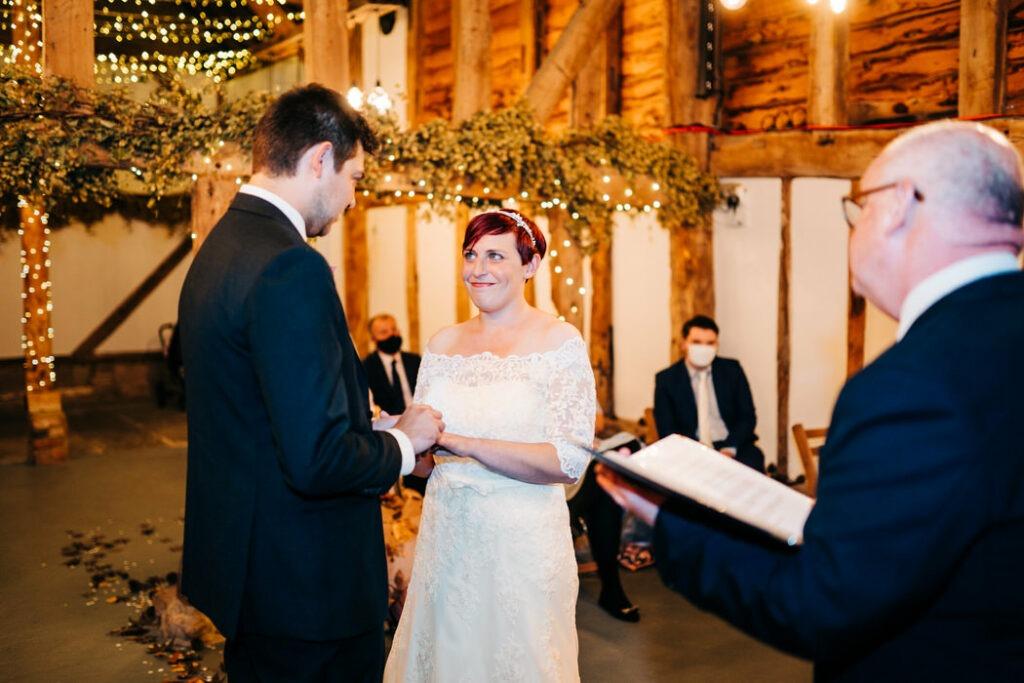 Ceremony at The Barnyard Twilight Wedding