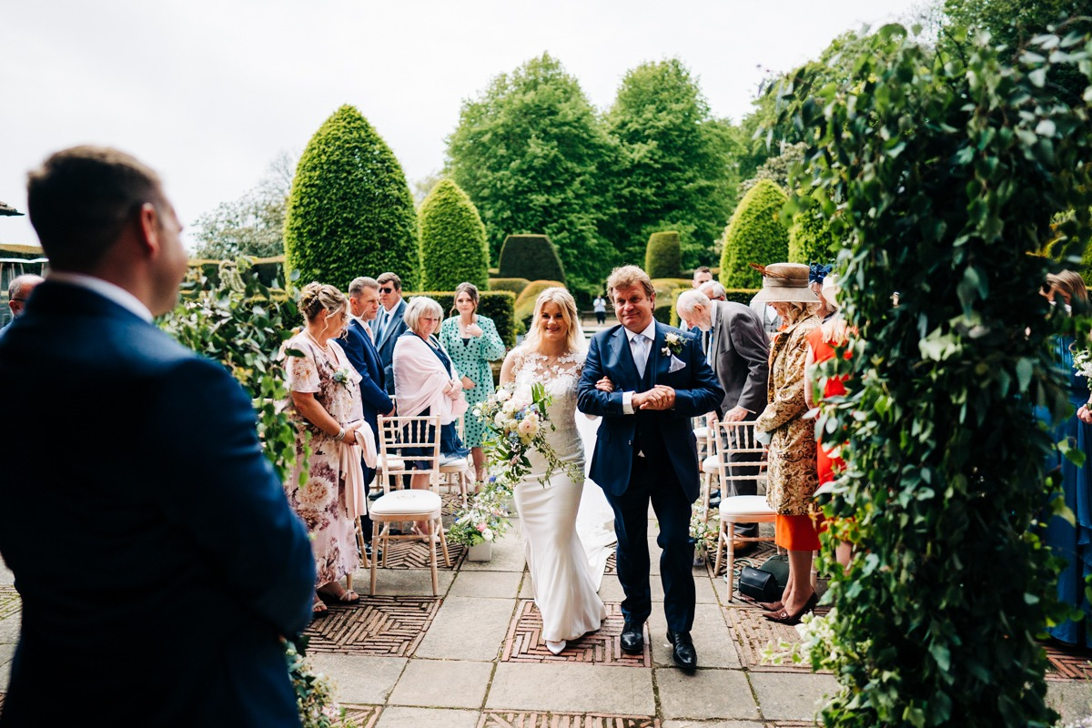 Bride and her Dad arriving at ceremony Port Lympne