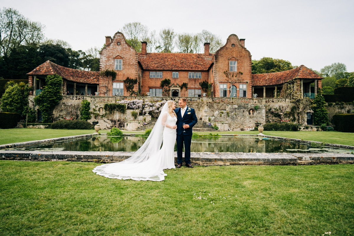 bride and groom at Port Lympne Hotel